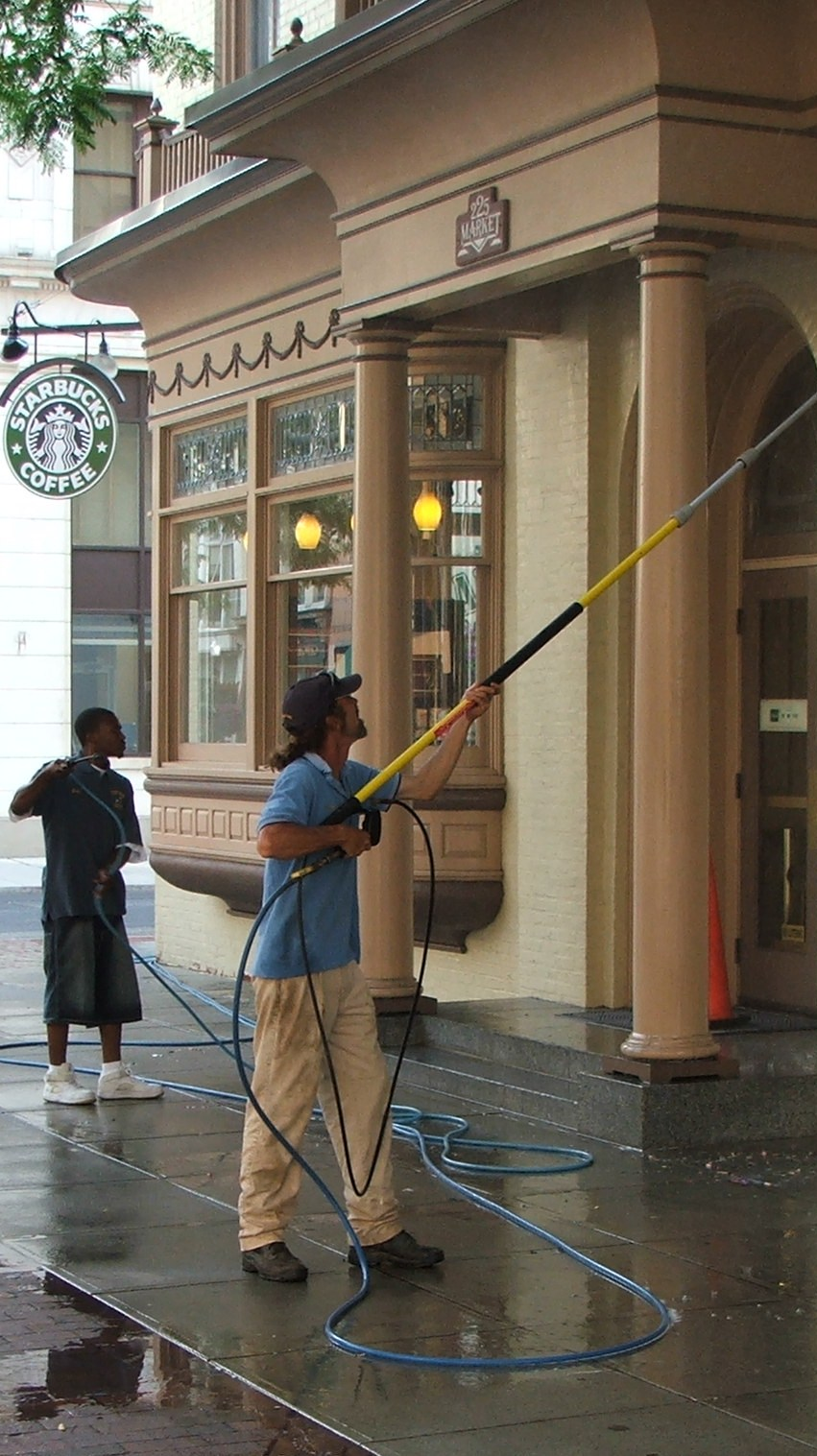 Store front pressure washing.